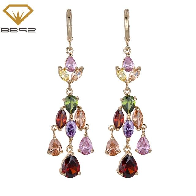 8892 Womens Drop Dangle Earrings Solid Colors and Multi-colored AAA Cubic Zirconia Elegant Jewelry Bridal Wedding