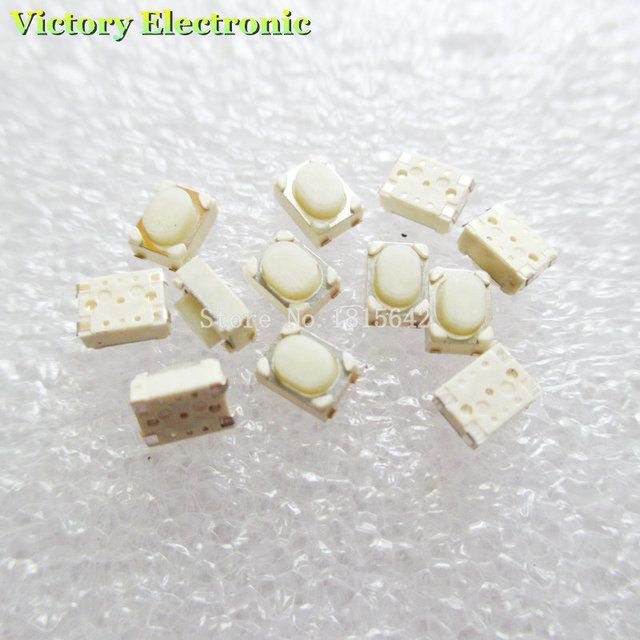 100PCS/LOT 3*4*2.5mm SMD Tact Switch 4 Pin Touch Micro Switch Push Button Switches 3x4x2.5H White Button Car Remote Key Button B