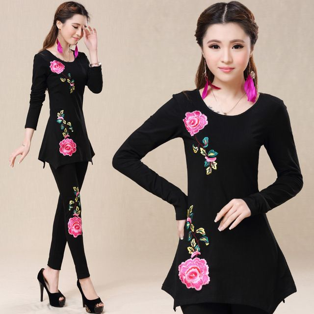 new the to the Casual Peony Embroidered 2 Piece Set Women Black to White Shirt to Pants Two Piece Suit Set Plus Size