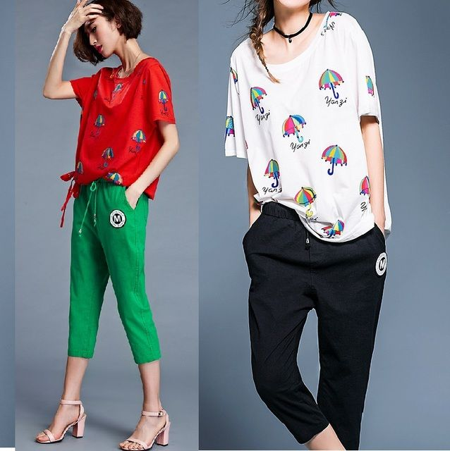 2016Summer women clothing set  two pcs Casual Costume umbrella printed cotton t shirt top+ calf-length pants plus size L-4XL8816