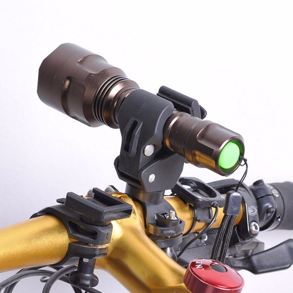 360 Swivel Bike Bicycle LED Flashlight Mount Bracket Flash Torch Holder Front Light Clip Clamp Lantern Black Bicycle Accessories