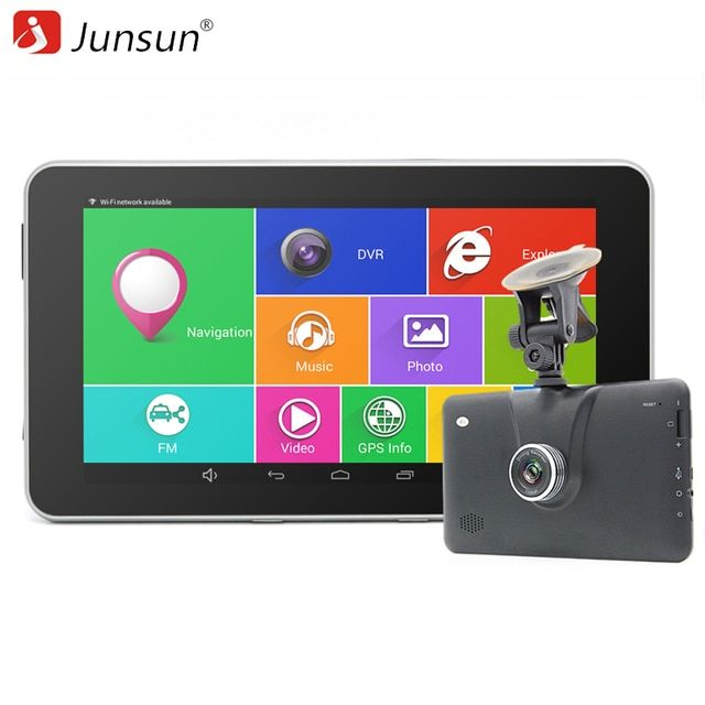 "Junsun 7"" Car GPS Navigation Android 4.4 FHD 1080P Car DVR Camera Recorder WiFi Bluetooth MT8127 Quad-core Vehicle gps Free Map"