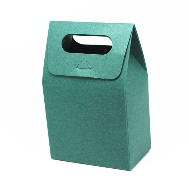 DHL 180Pcs/Lot 10*6*16cm Small Gift Packaging Box With Handle Dark Green Kraft Paper Pack Box With Window Portable Package Box