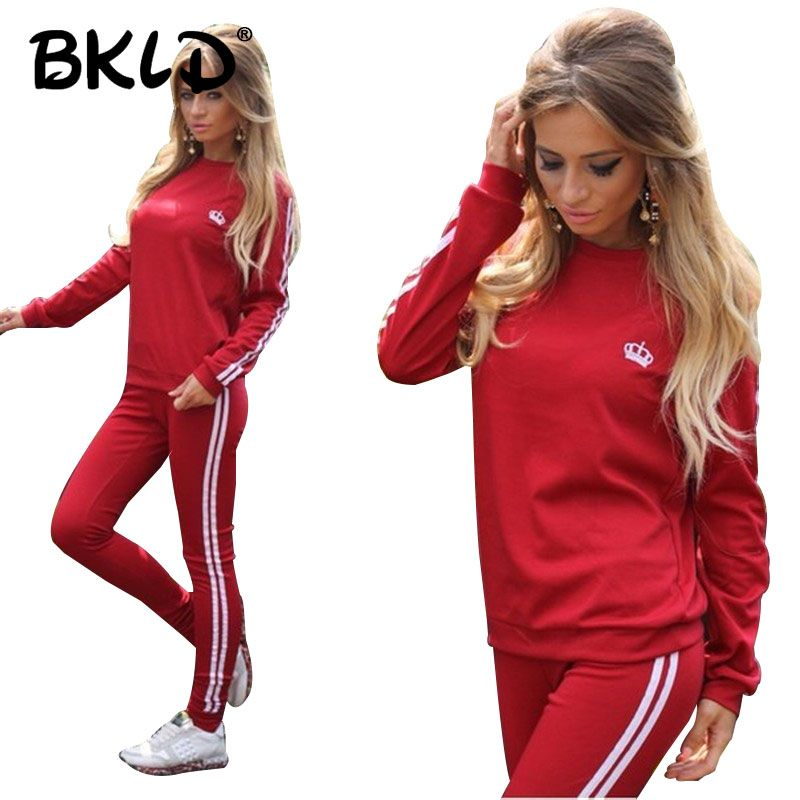 BKLD 2 Piece Set Women Outfits Side Striped Crown Printed Two Piece Set Top And Pants Sets Casual 2019 Autumn Women Tracksuit
