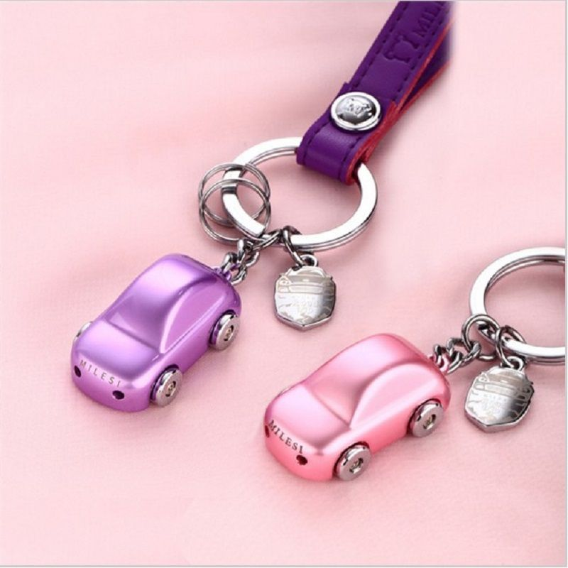 Milesi - New Gift Brand LED Car Key chain Keychain with Belt Key Holder Rings for Women Couple Novelty Gift souvenir pendant