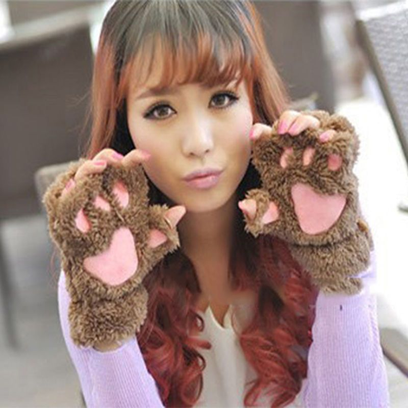 Women Girls Lovely Winter Warm Fingerless Gloves Fluffy Bear Cat Plush Paw Claw Half Finger Gloves Mitten women handschoenen