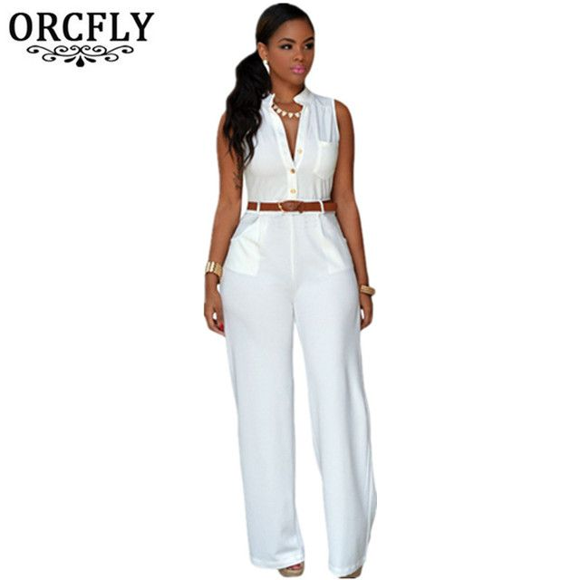 ORCFLY Wide Leg Jumpsuit Long Plus Size Romper Monos Largos De Mujer 2016 Belted White Jumpsuit For Women 60932 Macacao Feminino