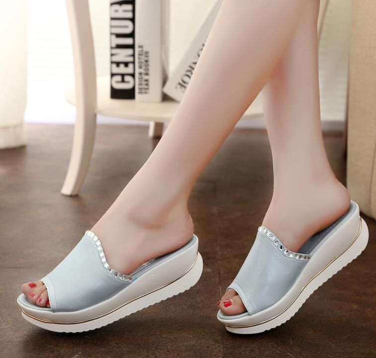 Summer 2016 new leather sandals and slippers women platform sandals shoes wedges platform shoes with comfort in Korea C55