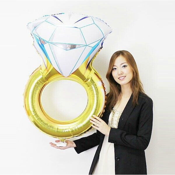 Jumbo 80*50CM Diamond Wedding Ring Engagement Foil Balloons Valentine Days Lover Balloon for Romantic Wedding Engagement