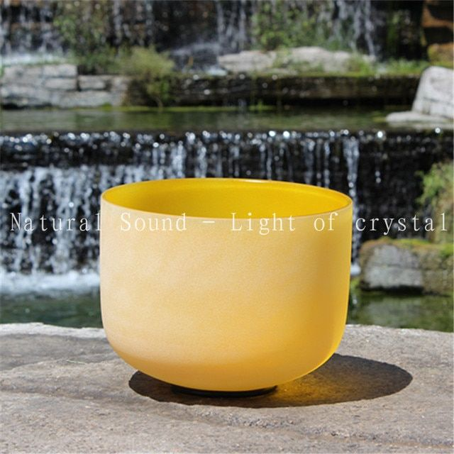8 and 12 inch Chakra Color Quartz Crystal Singing Bowl With Any 2 Tone of C D E F G A B with suede maller