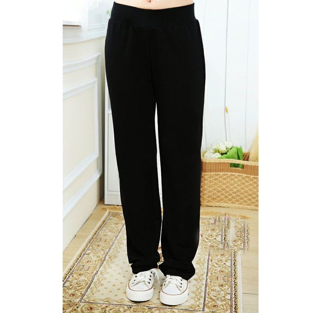 The spring and autumn period and the new large size ladies' elastic high waist pants women joggers Black pants Free shipping 917