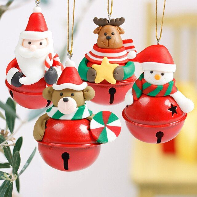6x8cm Bell Design Christmas Hangings Cartoon Christmas Tree Doll Bells Santa Snowman Cute Bell Ornaments Xmas New Year Supplies
