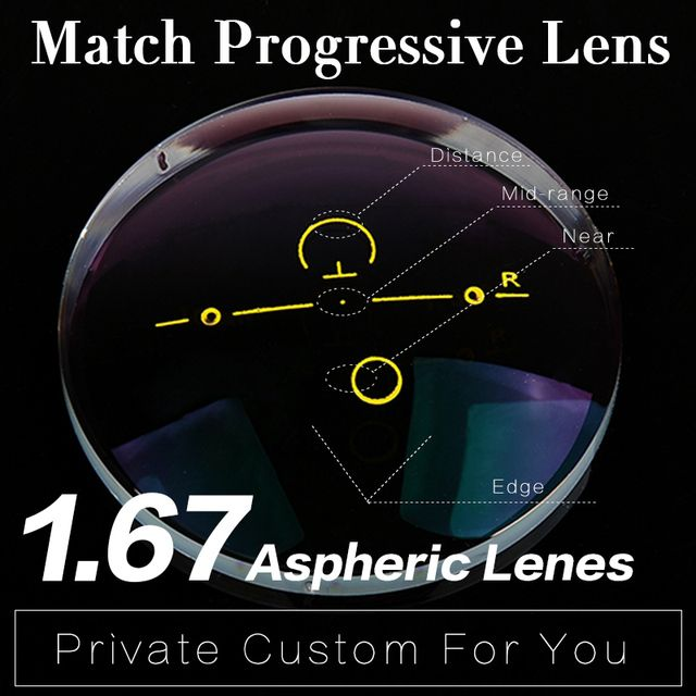 Extra fee for 1.67 Refractive index Progressive Lens Aspheric Multi-focal Lens HMC Graduated Progressive Addition Varifocal Lens