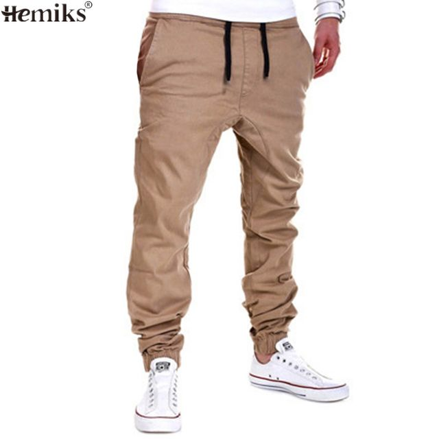 Hemiks Mens Joggers Pants Casual Loose MaleTrousers Mid Wait Harlan pants Pantalones Hombre High Quality Solid Color
