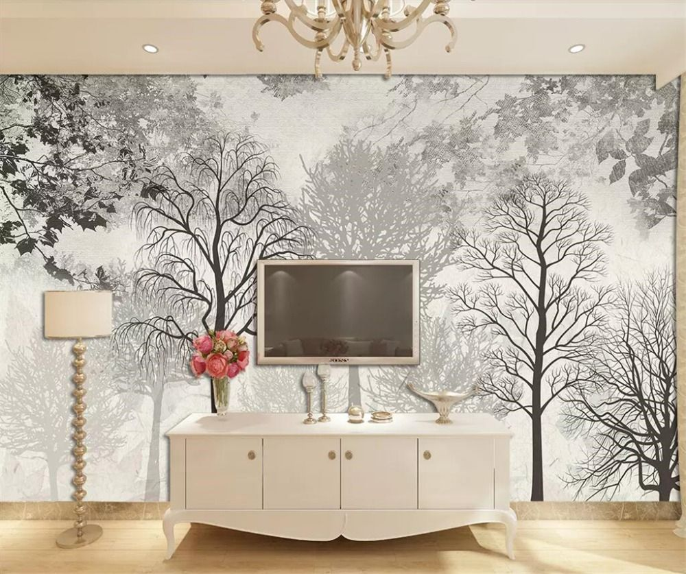 beibehang Custom wallpaper 3d mural Nordic Elk forest abstract pattern watercolor woods background wall paper 3d papel de parede