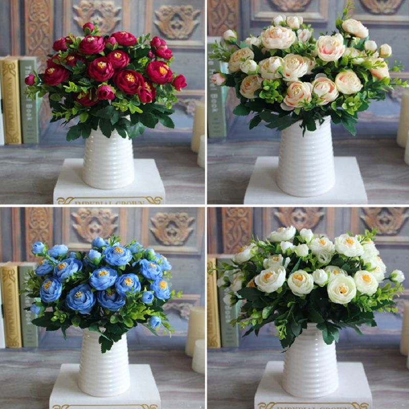 New Multi Color Realistic 6 Branches Spring Artificial Fake Peony Flower Arrangement Home Table Room Hydrangea Decor 4 Colors