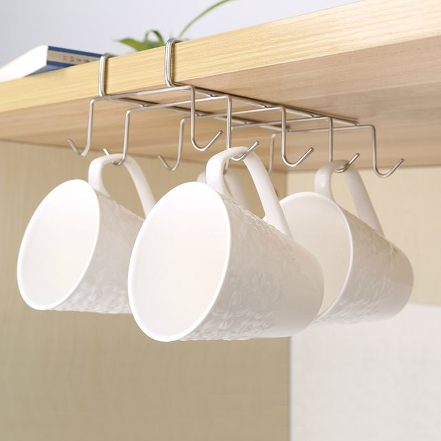 tainless Steel Hanger Hooks Cupboard Coffee Cup Holder Drainer Hanger Closet Under Shelf 10 Hook for Storage Cup Glass and Mug