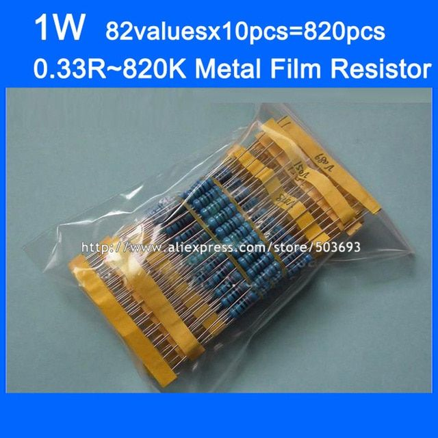 Free Shipping 1W 82valuesX10pcs=820pcs Metal Film Resistor Kit 0.33R~820K Resistor Pack  1% Torlerance