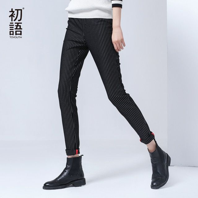 Toyouth 2017 Autumn Winter Casual Women Pants Slim Harem Black Trousers Women Pants Stripe Pencil Pant Female Casual Capris