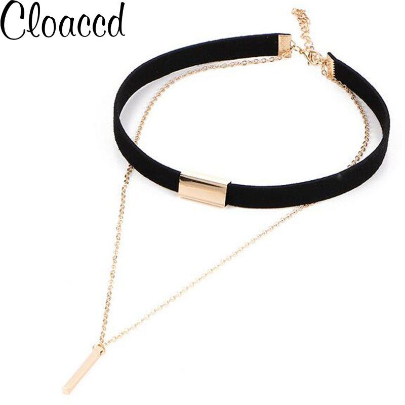 Cloaccd New Design Black Velvet Leather Choker Necklace Fashion Gold Color Long Chain Alloy Pendant for Women
