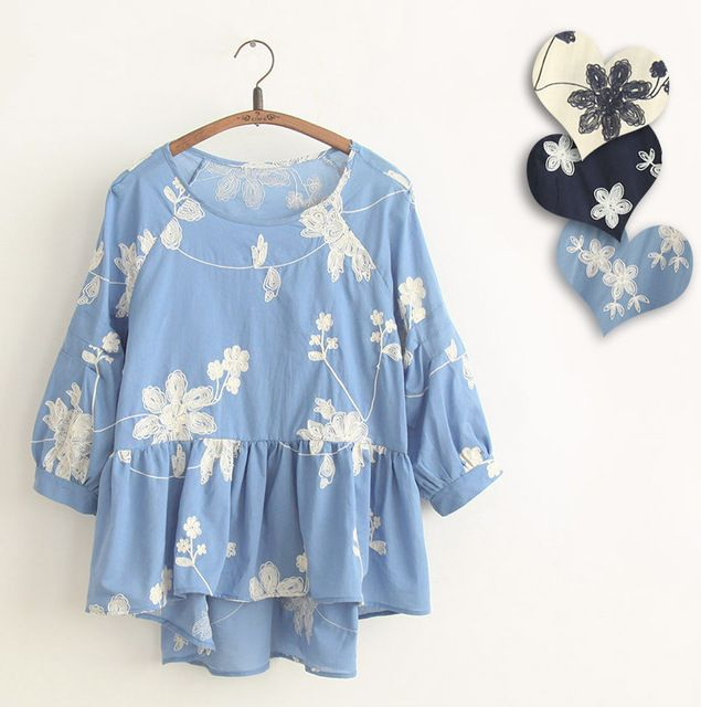 Japanese Embroidery Cotton Shirt Chemise Femme Camicia Donna Loose Hippie Boho Tunic Jeans Blue Linen Ladies Tops Womens Blouses