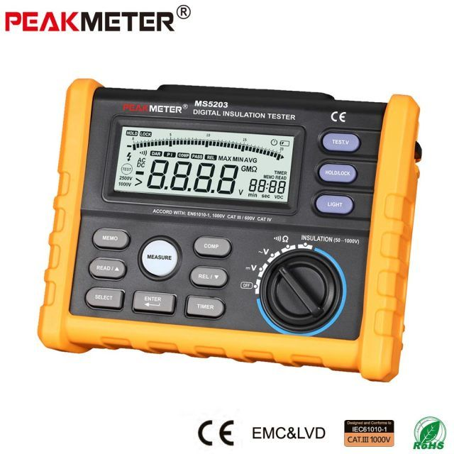 MS5203 Digital Insulation Resistance Tester Multimeter Megger 0.01 Mohm to 10.00 Gohm HV meter 50V-1000V output