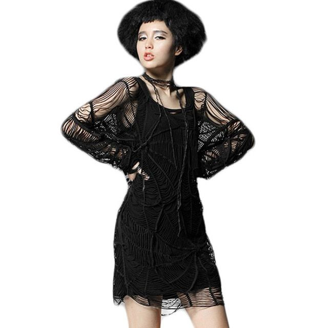Punk Style Gothic Spider Web Hollow Out T-shirt Tops Gothic Black Long T-shirts Women Cotton Long Sleeve Sexy Clothing