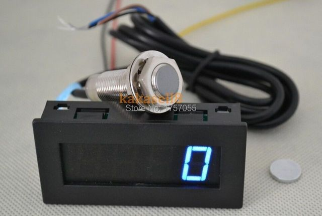 New Blue LED Tachometer RPM Speed Meter + Hall Proximity Switch Sensor NPN free shipping