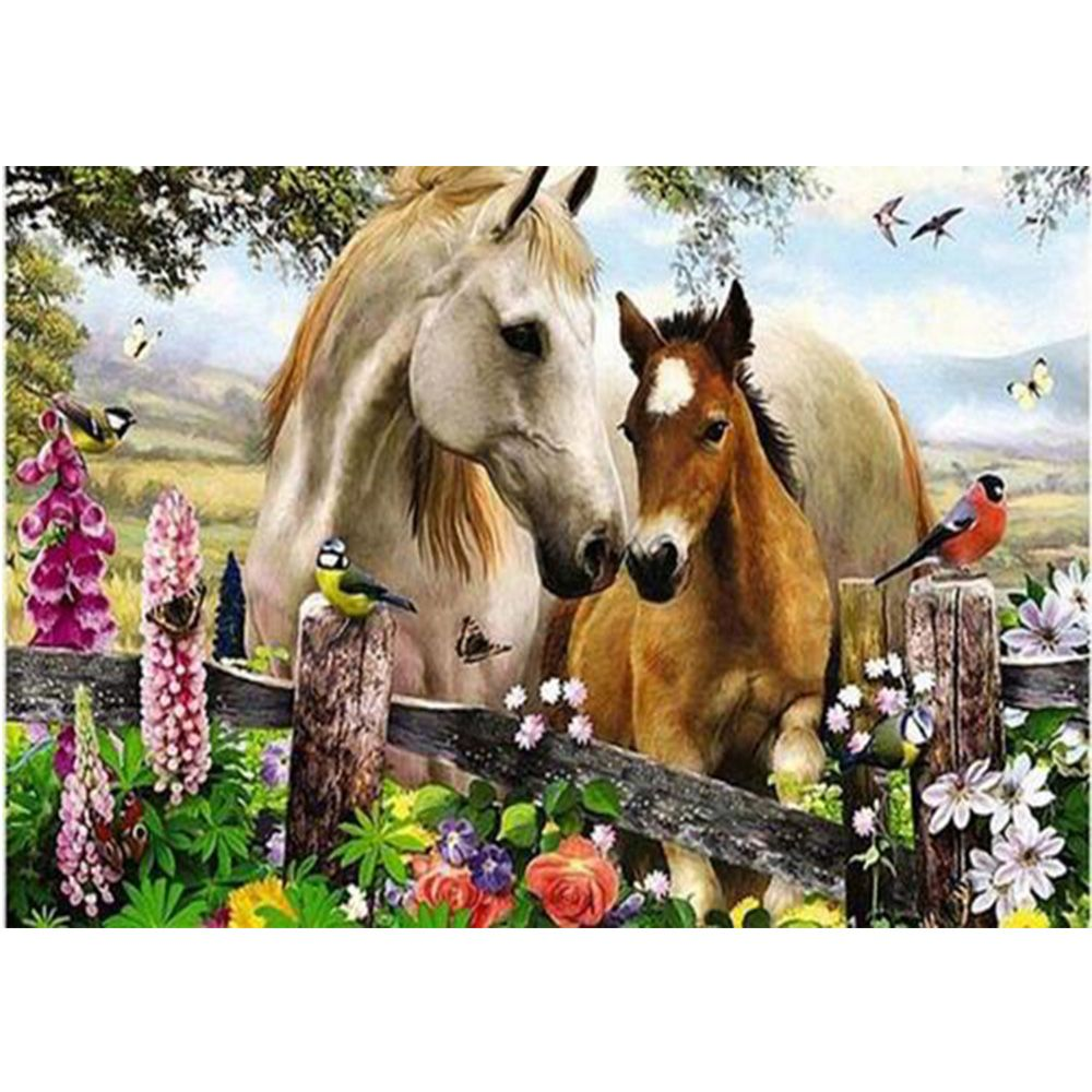 hot saleing DIY diamond embroidery horses and birds mosaic painting square drill full rhinestone drawing fashion decoration W336