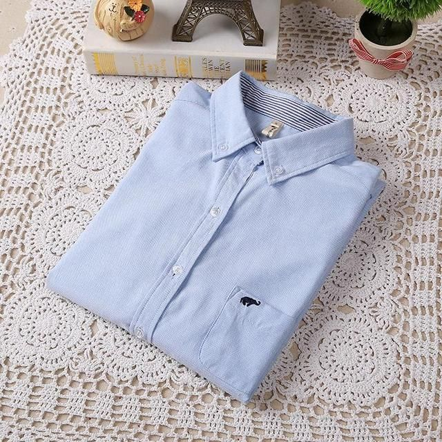 2015 Fall And Winter New Women Casual Long Sleeve Shirt Small Elephant Embroidered Oxford Shirt White Blue Shirt