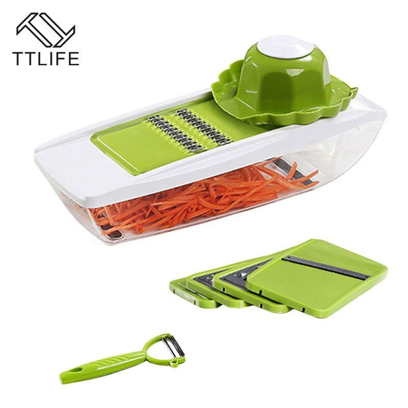 TTLIFE 7-in-1 Mandoline Manual Vegetable Cutter with 5 Blades Multifunctional Vegetable Cutter Potato Onion Slicer Kitchen Tools