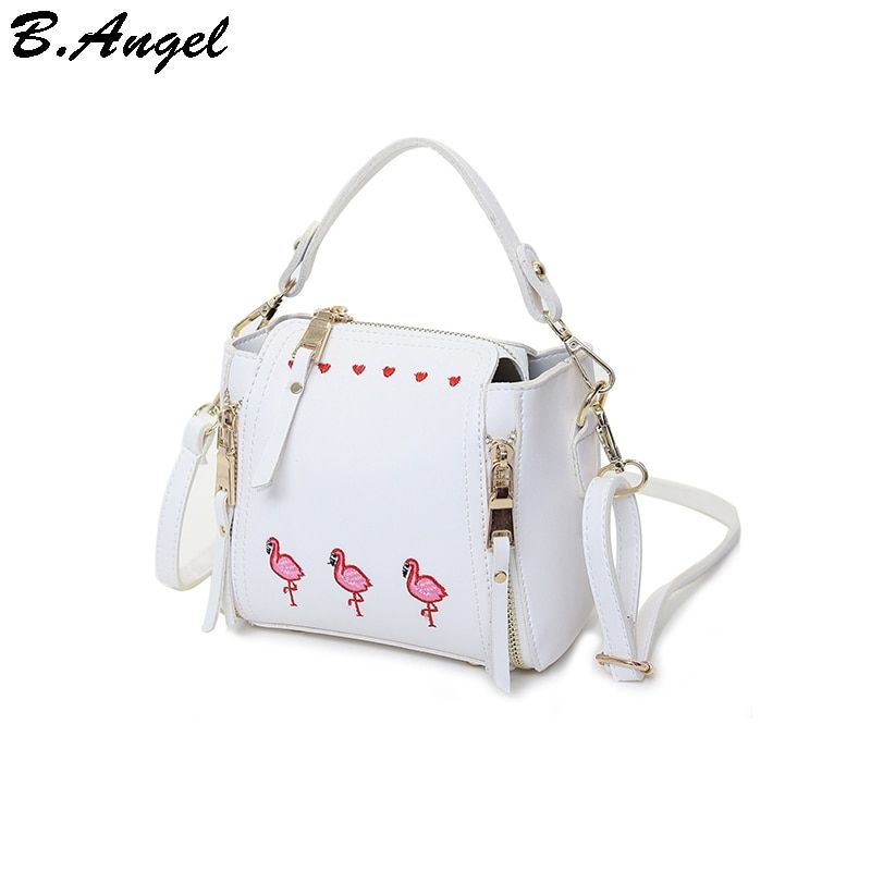 Embroidery flamingos and hearts women bag chain decoration leather handbags small women messenger bags women crossbody bags