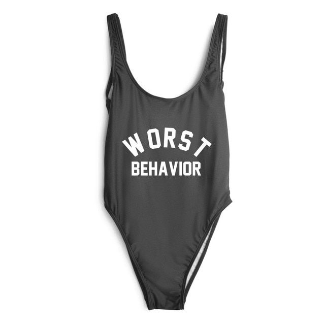 WORST BEHAVIOR bodysuit rompers womens jumpsuit one piece swimsuit women sexy swimwear fashion clothing  suits bathing suits