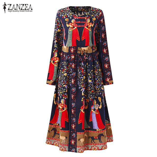 2018 ZANZEA Autumn Women Boho Floral Print Drawstring Midi Dress Casual O Neck Long Sleeve Linen Beach Party Vestido Plus Size