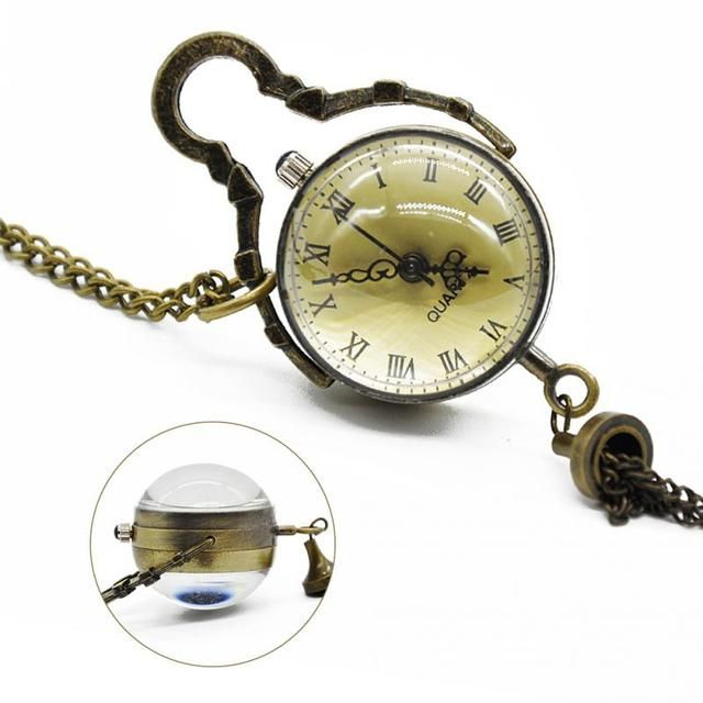 New Arrival Antique Vintage Glass Ball Bull Eye Necklace Pendant Chain Quartz Pocket Watch