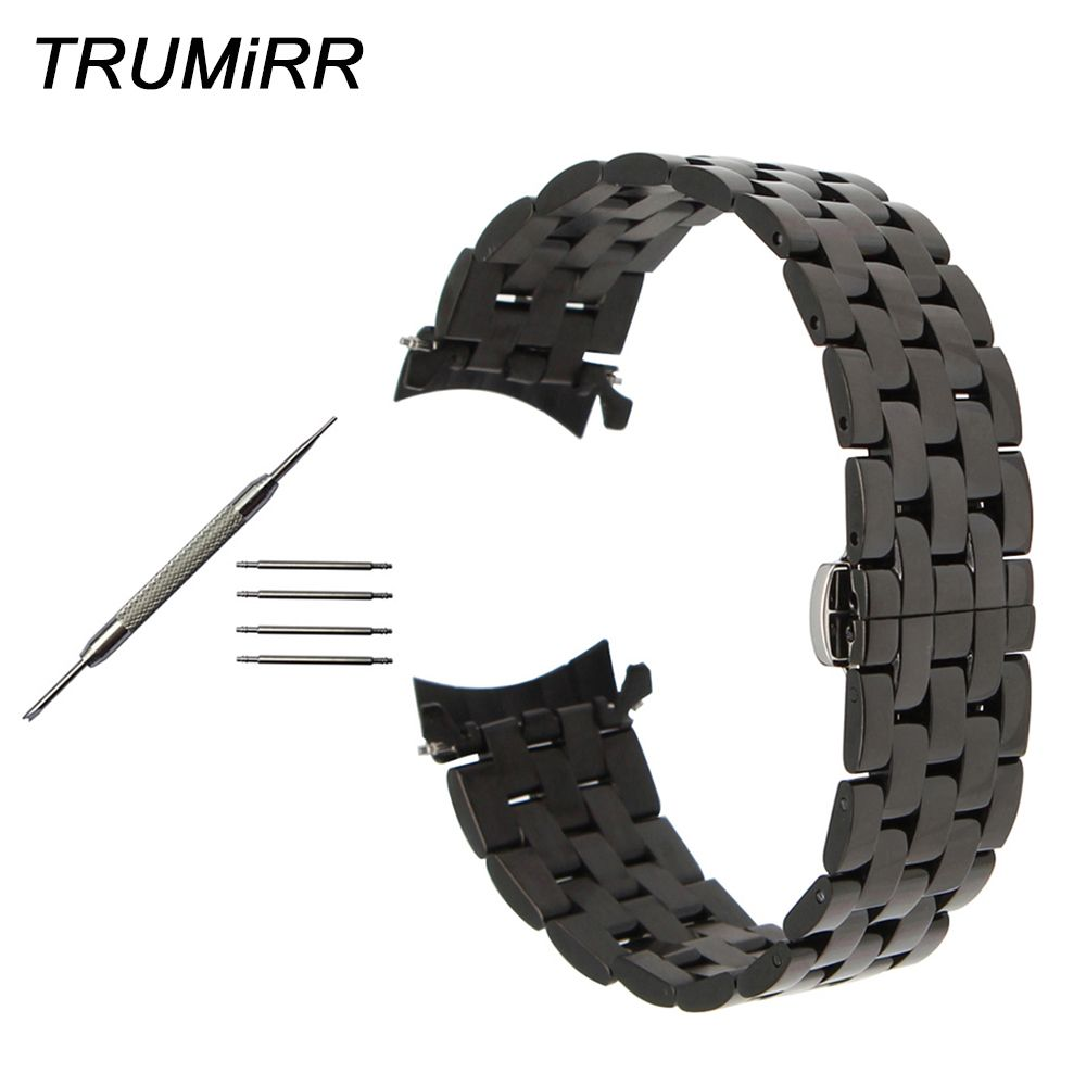 20mm 22mm 24mm Stainless Steel Watchband Curved End Strap for Diesel Men Women Watch Band Butterfly Buckle Wrist Belt Bracelet