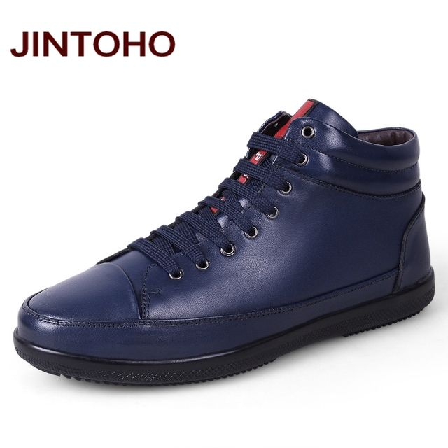JINTOHO 100% Genuine Leather Men Ankle Boots Winter Warm Fashion Men Real Leather Boots With Fur And Without Fur Boots Men Shoes