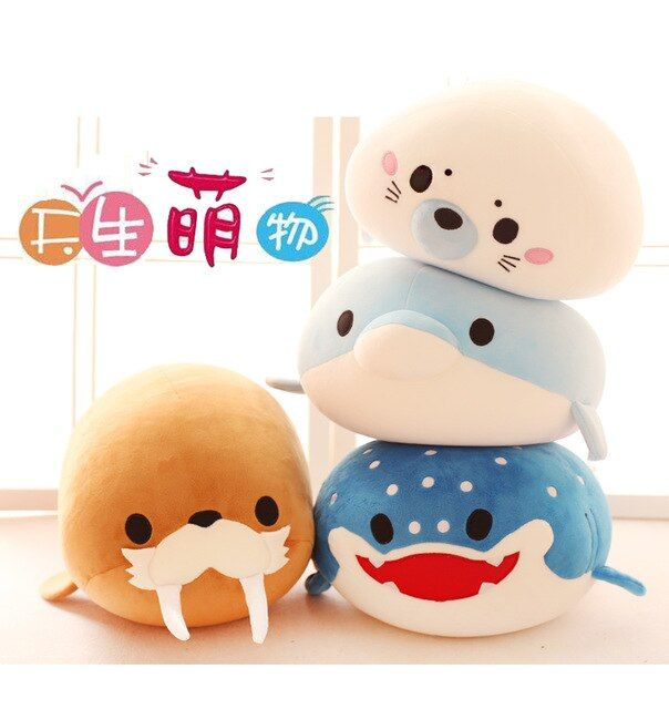 Candice guo plush toy stuffed doll cute funny dolphin penguin sea lion whale nanoparticle pillow cushion birthday christmas gift