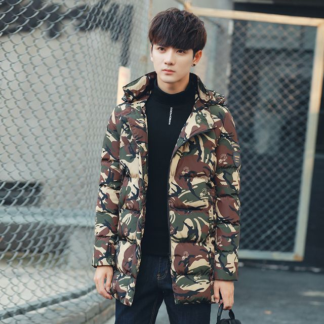 Camouflage Winter Jackets Long Men's Parka Men Coat Winter Casual Fit Thick Warm Printing Hooded Tops Overcoats z15