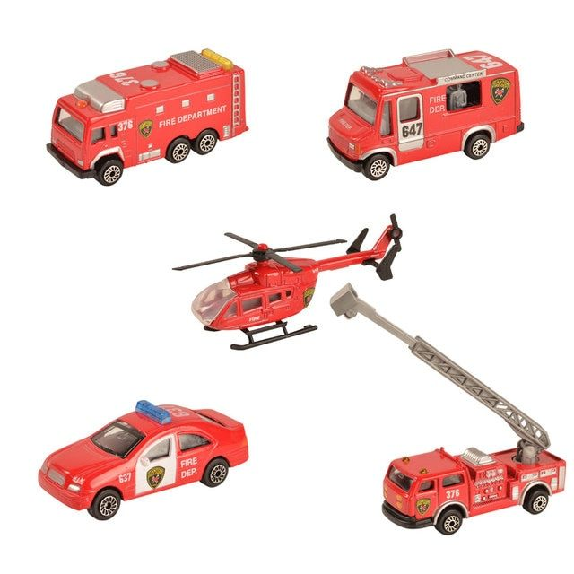 BOHS Mini Metal Alloy Red Fire Miniature Aerial Ladder Fire Truck Rescue Truck Engine Helicopter  for Kids Diecast Vehicles Toys