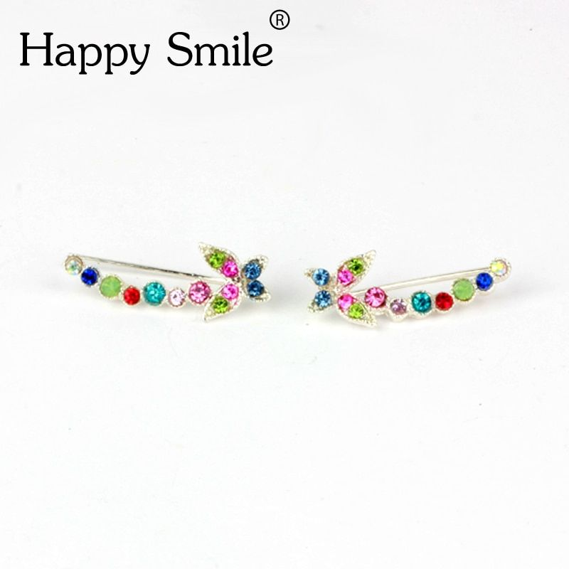 High Quality European And American Fashion Mosaic Crystal Ear Buckle Long Row Of Clip-on Earrings Invisible Piercing Ear Clip