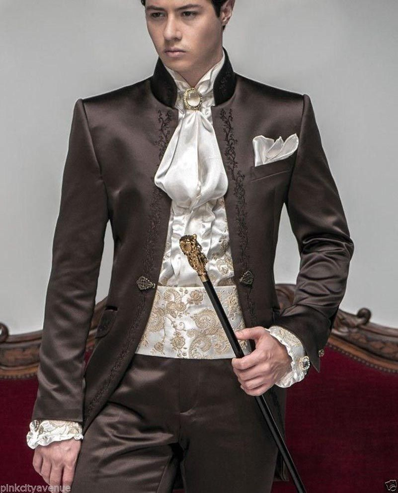 2019 New Style Hot sale Groom Tuxedos Wedding Suits Men lace embroidered Mandarin Collar clothes Blazer Jacket+Trouser