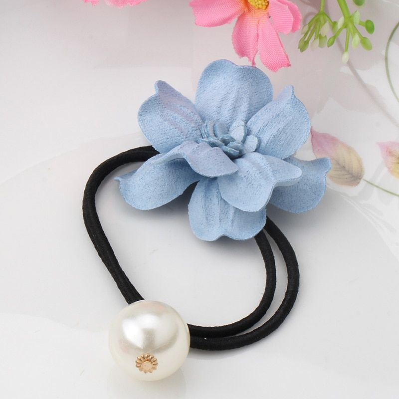M MISM New Elegance Flower With Pearls Scrunchies Elastic Hair Rope Girls Hair Accessories Headdress Hair Elastic Rubber Bands