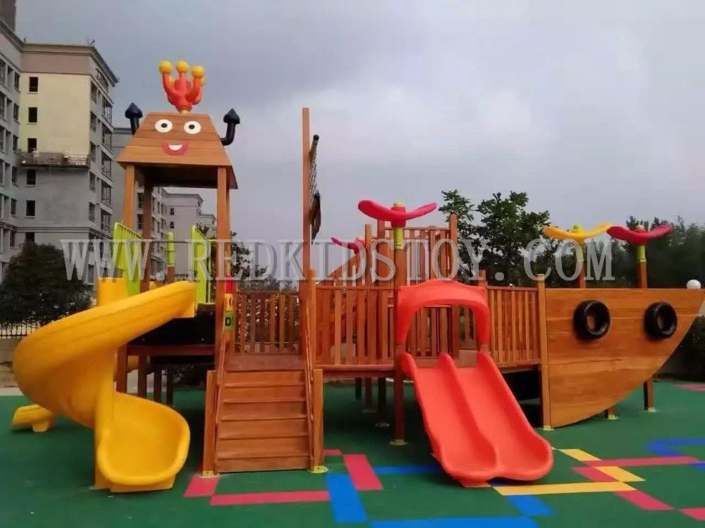 Exported to Panama Antirot Wood Outdoor Playground CE Approved Outdoor Wooden Play Structure HZ16-165A