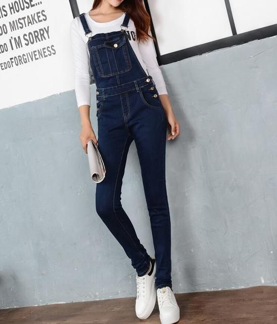 Women Jumpsuit Denim Overalls 2016 Spring Autumn Casual Skinny Pants Ripped Pockets Jeans Coverall Plus Size S-5XL E102