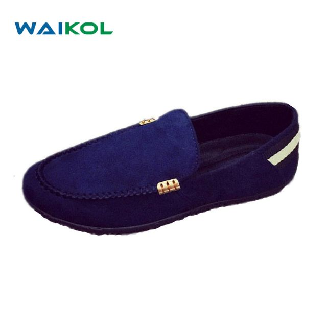 Waikol 20% OFF 2017 Fashion Casual Men Shoes Men Leather Shoes Men Loafers Moccasins Slip on Men's Flats Boat Shoes