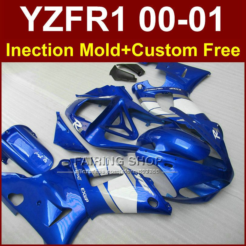 Custom fairing for YAMAHA YZF1000 ABS plastic fairings YZFR1 2000 2001 YZF R1 00 01 YZF R1 Injection blue white bodywork+7gifts