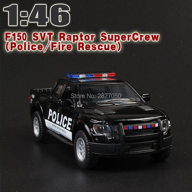 Cool 1:46 Ford F150 Raptor Off-road Pickup Truck Police Fire Rescue Car Alloy Pull Back Toy Car Model Two-doors Car