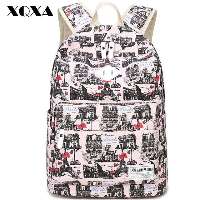 XQXA Printing Canvas Women Backpack School Shoulder Bags Laptop Backpack for Girls Mochila women's Casual Daypacks 6 Colors