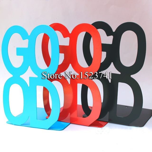 2pcs/Pair Metal Bookends Metal Bookends Iron GOOD Alphabet Shaped Support Holder Desk Stands For Books